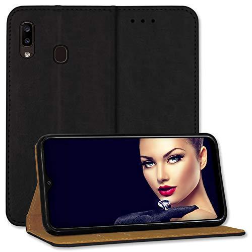 mtb more energy® Leder-Tasche Bookstyle für Samsung Galaxy A20e (SM-A202, 5.8'') - schwarz - Echtleder - Schutz Hülle Wallet Cover Hülle
