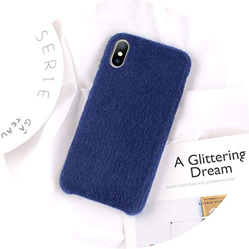 iPhone 8 7 6 6S Plus Hülle für iPhone X XR XS Max Winter Warm Pelz Cover, for iPhone XS MAX, blau