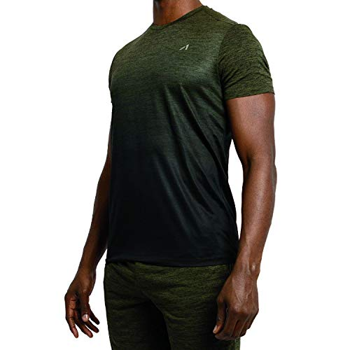 Alive Men's Tee Shirt Active Quick Dry Workout Short Sleeve Shirts Crew Neck (Medium, Dark Olive Heather/Darker Olive Dip)
