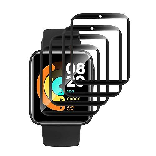 MI-KOU 【4 Piezas】 Película Protectora Compatible con Xiaomi Watch Lite, [Resistente a los arañazos],[sin Burbujas], [fácil aplicación], [película Protectora Suave], [Cobertura Total ]