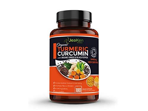 JeaKen - Bio-Kurkuma 1440 mg mit schwarzem Pfeffer und Ingwer - 180 vegane Kurkuma-Kapseln mit hoher Festigkeit (3 Monate) - Kurkuma-Kapseln mit Curcumin und schwarzem Pfeffer für maximale Absorption