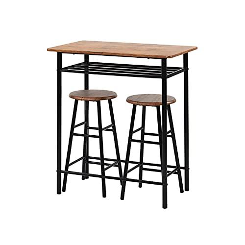 Sapphome Set tavolo alto 3 pezzi, tavolo da pub moderno e set sedia-pranzo, tavolo da pranzo con altezza bancone cucina e 2 sgabelli da bar