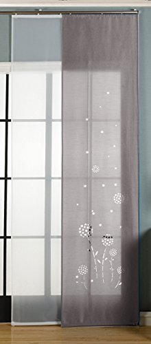 Gardinenbox 2er-Pack Schiebegardine Flächenvorhang Zamora Lasercut Wildseide Optik Voile, Grau, 245x60 cm (HxB) inkl. Paneelwagen und Beschwerungsstangen, 165620