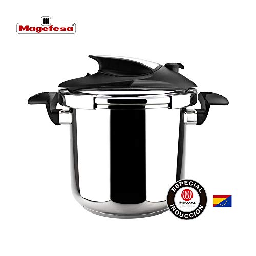 MAGEFESA Nova Olla a presión Super rápida de fácil Uso, Acero Inoxidable 18/10, Apta para Todo Tipo de cocinas, Incluido inducción. (6L)