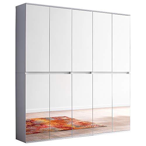 trendteam smart living Garderobe Garderobenschrank Schrank Mirror, 185 x 191 x 34 cm in Korpus und Front Weiß Melamin Absetzung Spiegel mit viel Stauraum