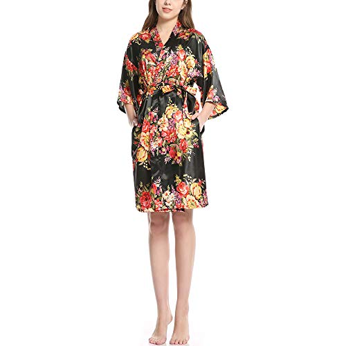 Albornoz de satén para Mujer, Servicio a Domicilio de Seda con Cuello en V, Pijama de Novia Sexy, Vestido de Encaje de Flores, Kimono de baño NegroL