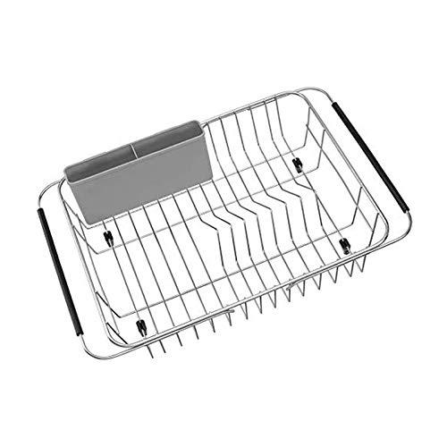 BANGSUN Escurridor de platos extensible sobre el fregadero de color gris acero