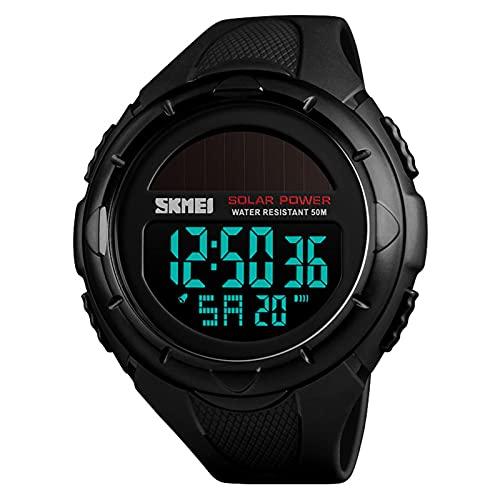 JTTM Reloj Deportivo De Energía Solar De Multifunción Dual Tiempo Pulsera Digital De Silicona Batería Integrada Impermeable De 50M para Actividad Deportes Exteriores para Hombre (Negro),Negro