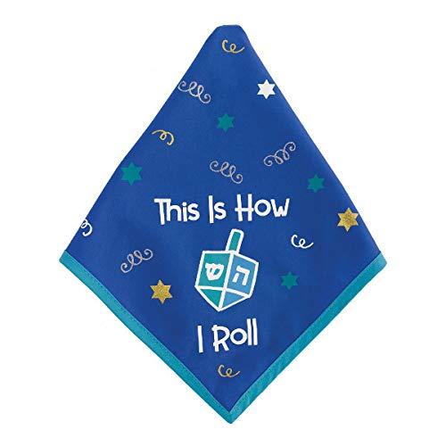 25' x 13' Fabric Blue & White Hanukkah Bandana | Chanukah Party Accessory, Jewish Dog Bandana