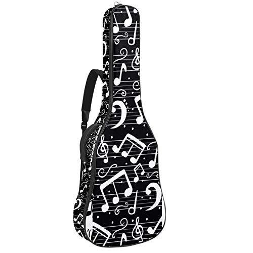 Funda de Guitarra Española Blanco negro Bolsa Acolchada Para Guitarra Acústica con Asa de Transporte y Correa Para el Hombro 109x43x12cm