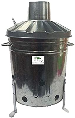 Srendi Small Medium Large 15l 60l 90l Litre Metal Galvanised Garden Incinerator Fire Bin Burning Leaves Paper Wood Rubbish Dustbin Shovel And Poker Made In U K 60l Incshovelpoker from UK