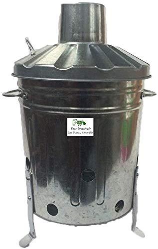 Srendi® Small Medium Large 15L 60L 90L Litre Metal Galvanised Garden Incinerator Fire Bin Burning Leaves Paper Wood Rubbish Dustbin Shovel and Poker Made in U. K. (15L INC Onlly)