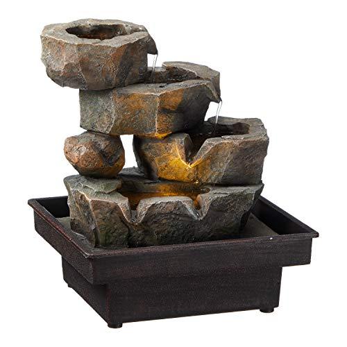TFH LED Brunnen Steine Wasserfall Indoor Zimmerbrunnen Innenbrunnen Aussenbrunnen Steinoptik ausgefallen