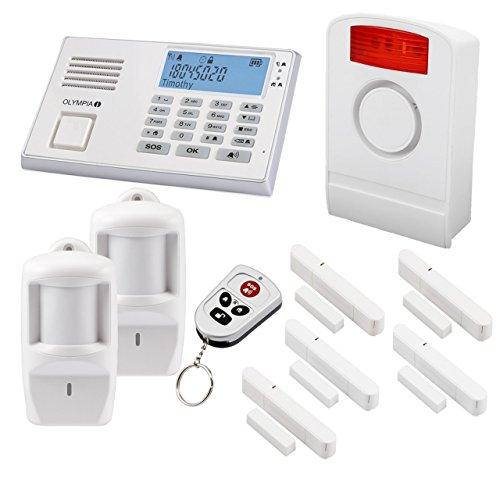 Olympia Protect 9061W Funk Alarmanlage in Weiß ✓ GSM ✓ Kabellos ✓Super Set Einbruchmeldeanlage mit 1 x Außensirene 5 x Fenster/Türkontakte 2 x Bewegungsmelder