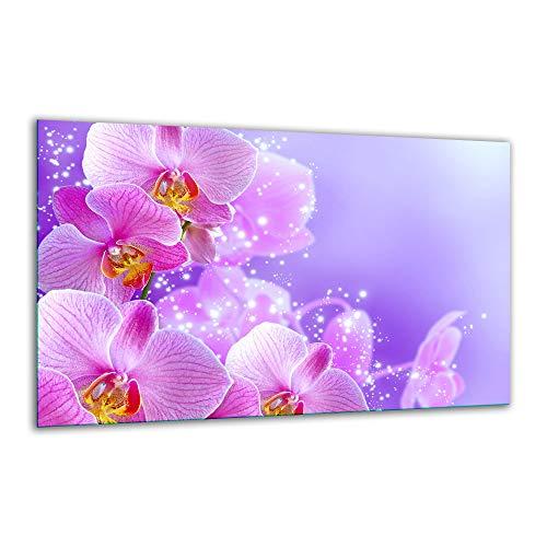 Herdabdeckplatte Ceranfeld 80x52 Orchidee Pink Kochplatten Glas Induktion Deko