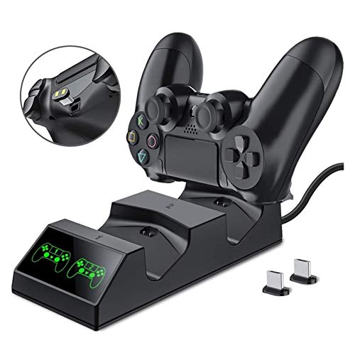 MJS PS4 Controller Charger 4 Charger Station con 2 Micro USB Carga Dongles Doble Dual CARGAND para Sony PS4 Slim Pro (Color : Negro)