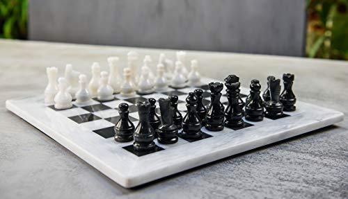RADICALn 15 Inches Large Handmade White and Black Weighted Marble Full Chess Game Set Staunton and AmbassadorStyle Marble Tournament Chess Sets for Adults - Non Wooden - Non Magnetic - No Digital Dgt