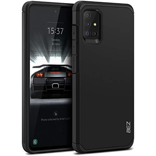 BEZ Hülle für Samsung Galaxy A51 Hülle, Handyhülle Tasche Stoßfestes Kompatibel für Samsung A51, [Heavy Duty Serie] Outdoor Dual Layer Armor Hülle Handy Schutzhülle Robuste, Schwarz