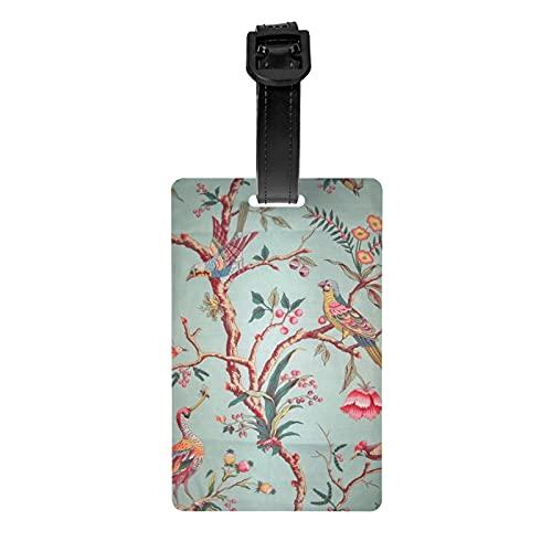 Brunschwig Fils Birds of A Feather Toile Fabric Yards Celadon etiqueta de equipaje protección de privacidad bolsa de viaje etiqueta maleta