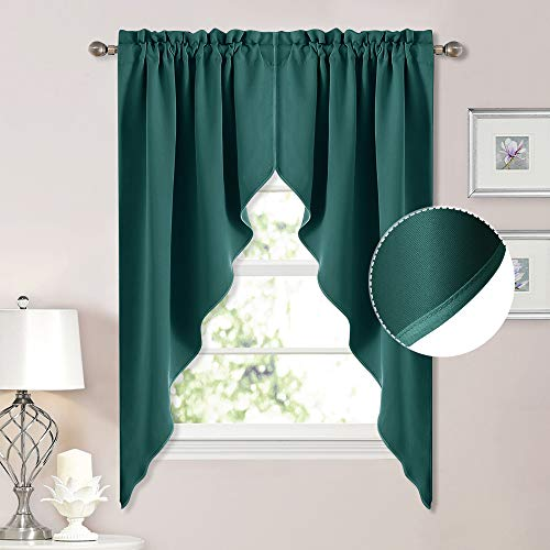NICETOWN Blackout Home Decor Tier Curtains - Tailored Scalloped Valance/Swags Christmas Window Decoration Topper Curtains for Living Room/Bow Window (2 PCs, W36 X L63 inches Each, Hunter Green)