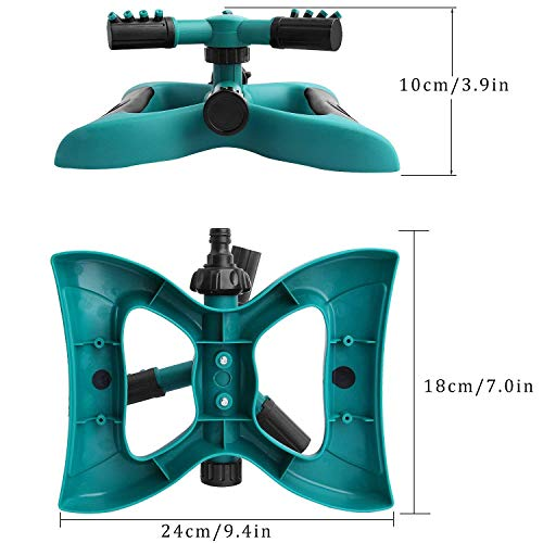 Garden Sprinkler, Automatic 360 Rotating Adjustable Garden Water Sprinklers Lawn Irrigation System Covering Large Area with Leak Free Design Durable 3 Arm Sprayer, Easy Connection