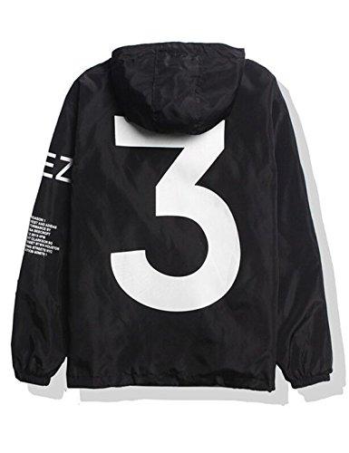 SoTeer Windbreaker Coole Jacke Mit Kapuzen Streetwear Unisex Damen Herren Jungen Mädchen Reißverschluss Cool Schwarz M