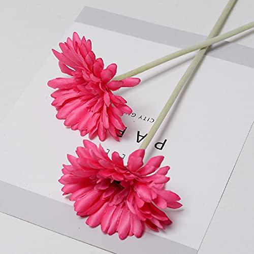 Wenyun 12 unidades de flores artificiales gerbera de seda realistas ideales para bodas, flores...