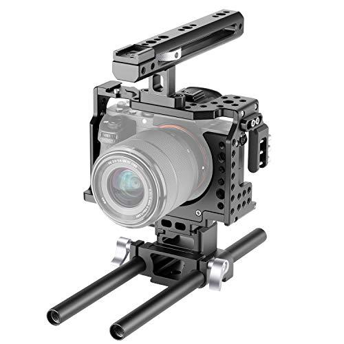 Neewer Kamera Video Käfig Anlage Kompatibel mit der Sony A7RIII / A7III Kamera mit Griff Oben und Kaltschuhhalterung Aviation Aluminium Design für die Herstellung von Videofilmen