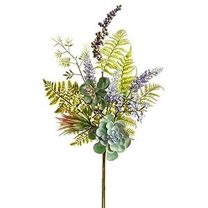 "Silk Flower Arrangements SilksAreForever 30"" Mixed Artificial Lavender, Succulent & Fern Stem -Lavender/Green (Pack of 6)"