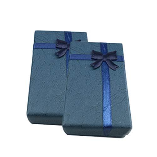 Recet 2 piezas Bowknot cubierta del cielo y la tierra joyas caja de regalo, collar rectangular anillo joyas joyero