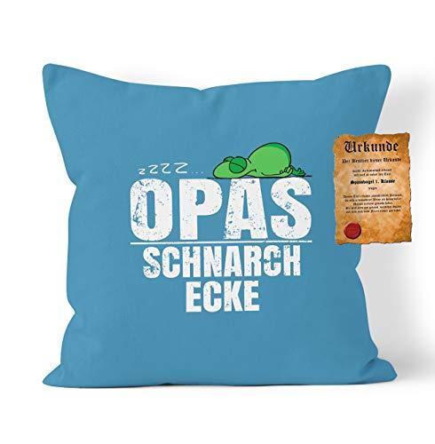 Opa Sprüche Kissen Geschenk - Großvater Geschenk : zzz… Opas Schnarch Ecke - Kissen ohne Füllung + Urkunde - Farbe: Meeres Blau