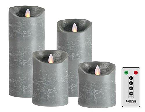 sompex 4-delige set Flame LED echte waskaarsen grijs 10/12,5/18/23cm met afstandsbediening