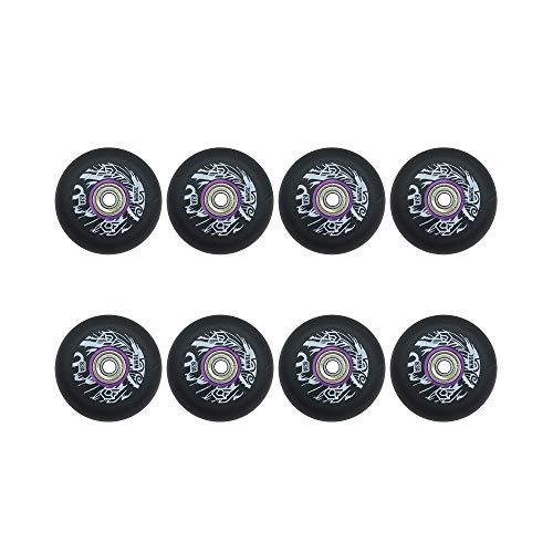 MY1MEY Inline Skate Räder, Inline Skate Wheel mit guter Haftung, 8-teiliges Rollenset für den Innen- und Außenbereich,83A 72mm 76mm 80mm(black80mm)