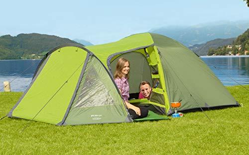 BERGER Kuppelzelt Easy Rock 4 Personen, grün, 3000 mm Wassersäule, Zelthöhe ca. 130 cm, Familienzelt, Trekkingzelt, Zeltboden wasserdicht
