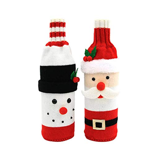 Sweater Christmas Wine Bottle Covers Sweater Wine Cover Red Wine Bottle Bag for Christmas Decorations 2Pcs