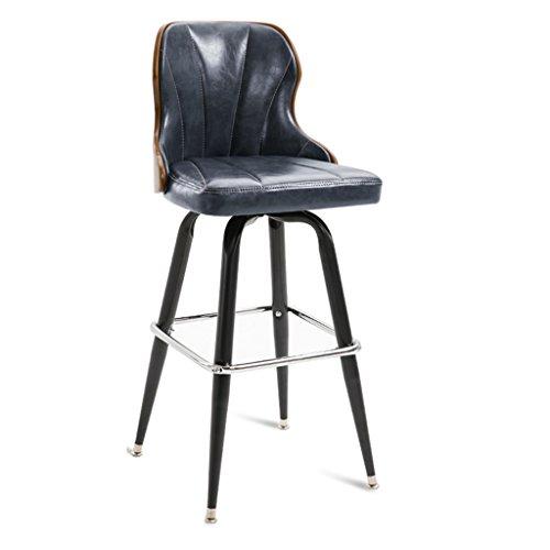 Vintage Fauteuil, Creative Bois Solide Bar Chaise Bar Chaise Rotative PU Chaise Bar Tabouret Ménage Café Fer Art Avant Banc Haut Tabouret 44 * 44 * 101 CM (Couleur : G)