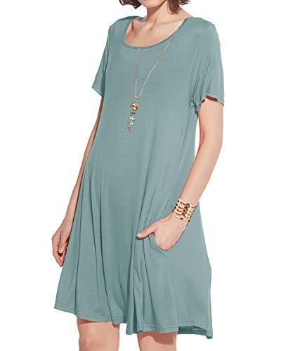 JollieLovin Women's Pockets Casual Swing Loose T-Shirt Dress (Greyish Green, L)