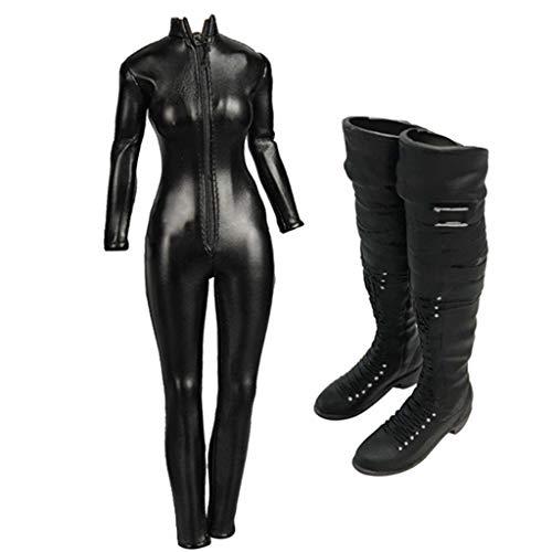 Amagogo 1/6 Woman Doll Skintight Jumpsuit Black Boots Set para 12 '' Hot Body