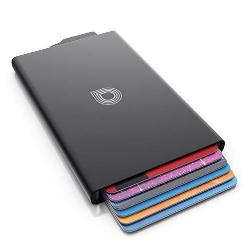 CSL - RFID Blocker Kartenetui - Aluminium Karten Schutzhülle - NFC RFID Abschirmung Blocking - Kreditkartenhülle - für bis zu 6 Karten - kompakt und stabil - sichere Aufbewahrung - schwarz
