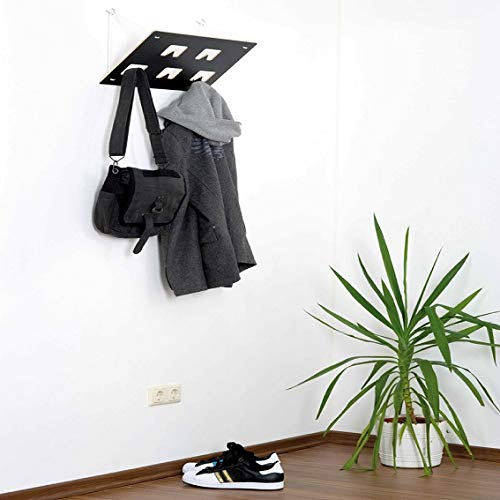 Garderobe   Garderobenrechteck mit 5 Garderobenhaken   Schwarz & Weiß   Garderobenpaneel   Wandgarderobe   Eckgarderobe   Garderoben Set