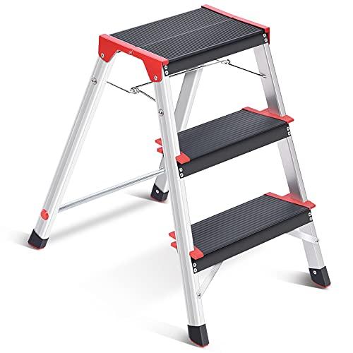 Kingrack - Scaletta a gradini a 3 gradini, in alluminio a doppio lato, con piedini antiscivolo, leggera, con piattaforma larga, multiuso, carico massimo 150 kg