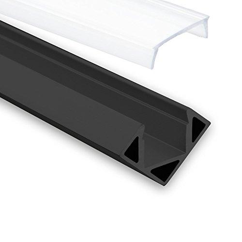 LED Aluminium Profil P23Pollux – LED-Streifen Eck-Profil (Aluminium Profil) 2 Meter Schwarz Opal