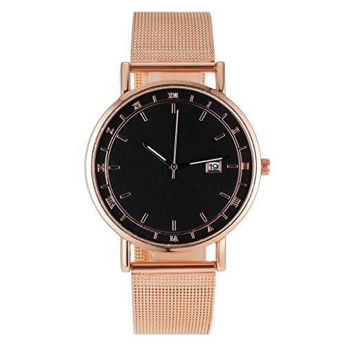 Hansee Herren-Armbanduhr, modisch, mit Dornschließe, Gitterriemen, lässiger britischer Stil, Kalender, Quarzuhr Gr. Einheitsgröße, a