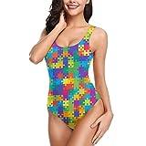 Huabuqi Puzzle Rettangolo Contorno Puzzle Astratto Costumi da Bagno Intero da Donna Costumi da Bagno Costumi da Bagno S