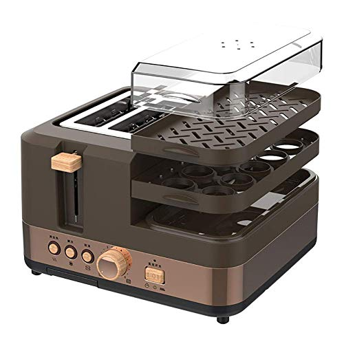 Sale!! Drohneks 5 in 1 Toaster, Egg Boiler & Poacher, Breakfast Multi-Cooker with Interchangeable Pl...