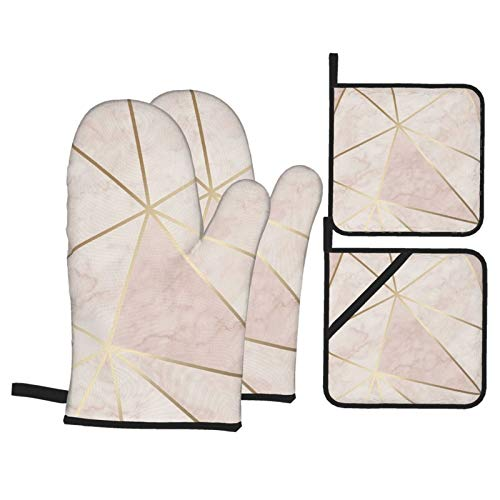 Vilico 2 Stück Ofenhandschuhe und 2 Stück Topflappen Ofen Zara Schimmer Metallic Soft Pink Gold Küche rutschfeste Handschuhe und Hot Pads zum Kochen Backen Hitzebeständig Handschutz