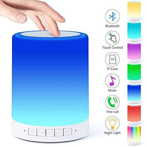 Nachttischlampe mit Bluetooth Lautsprecher,Berührungssensor Nachtlicht Nachttischlampe, Dimmbar Warmes Licht & 7 Farbwechselnde Tragbare Draussen Camping Laterne, Geschenke für Frauen Kinder