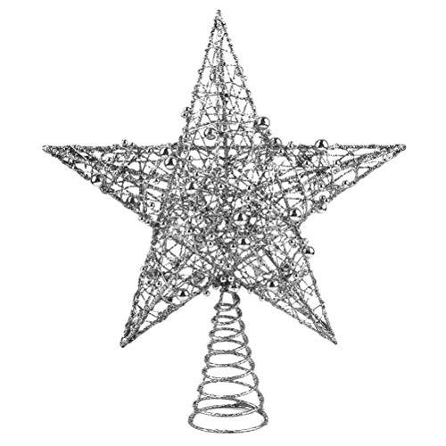 Oulian Weihnachtsbaum Topper, Weihnachtsbaum Stern Spitze Weihnachtsbaumspitzen, Stern Weihnachten Dekoration Glitzernde Baum Top Stern für Weihnachtlicher Baumschmuck, Silber 25 * 30CM