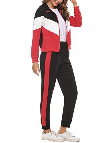 Irevial Zweiteiler Damen Jogginganzug Trainingsanzug Sportanzug Freizeitanzug Zweiteiliger Zipper Jacke Hose Kordelzug Taschen