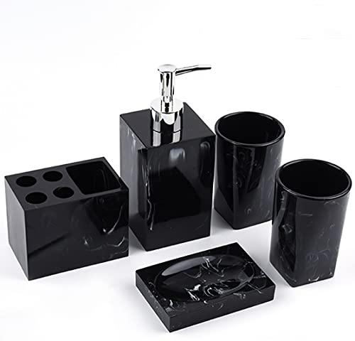 Set di 5 accessori da bagno in resina, effetto marmo, con dispenser di sapone, bicchiere per spazzolino da denti, portasapone, porta spazzolino da denti, set da bagno di lusso bianco nero (nero)